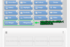 2.Themify Builderのタブを確認。下の方にWidgetとWidgetizedのモジュールが追加されています。