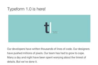 Typeform1.0がリリース!Betaの表記もなくなりました